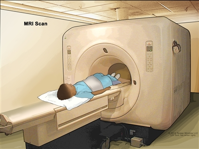 Magnetic resonance imaging (MRI) of the abdomen; drawing shows a child lying on a table that slides into the MRI scanner, which takes pictures of the inside of the body. The pad on the child's abdomen helps make the pictures clearer.